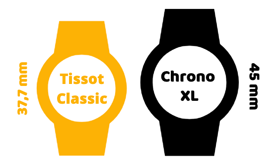 Difference in case size between Tissot Classic and Chrono XL
